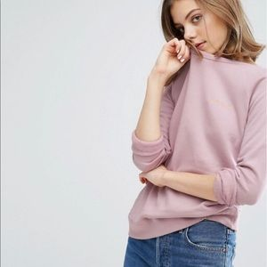 Maison Labiche Amour embroidered pink sweatshirt